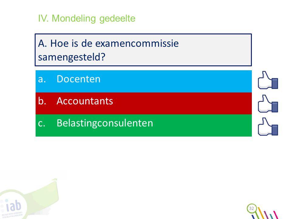 A. Hoe is de examencommissie samengesteld? a.Docenten b.Accountants c.Belastingconsulenten 32 IV. Mondeling gedeelte