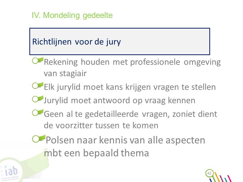 Richtlijnen voor de jury 42 IV. Mondeling gedeelte Rekening houden met professionele omgeving van stagiair Elk jurylid moet kans krijgen vragen te ste