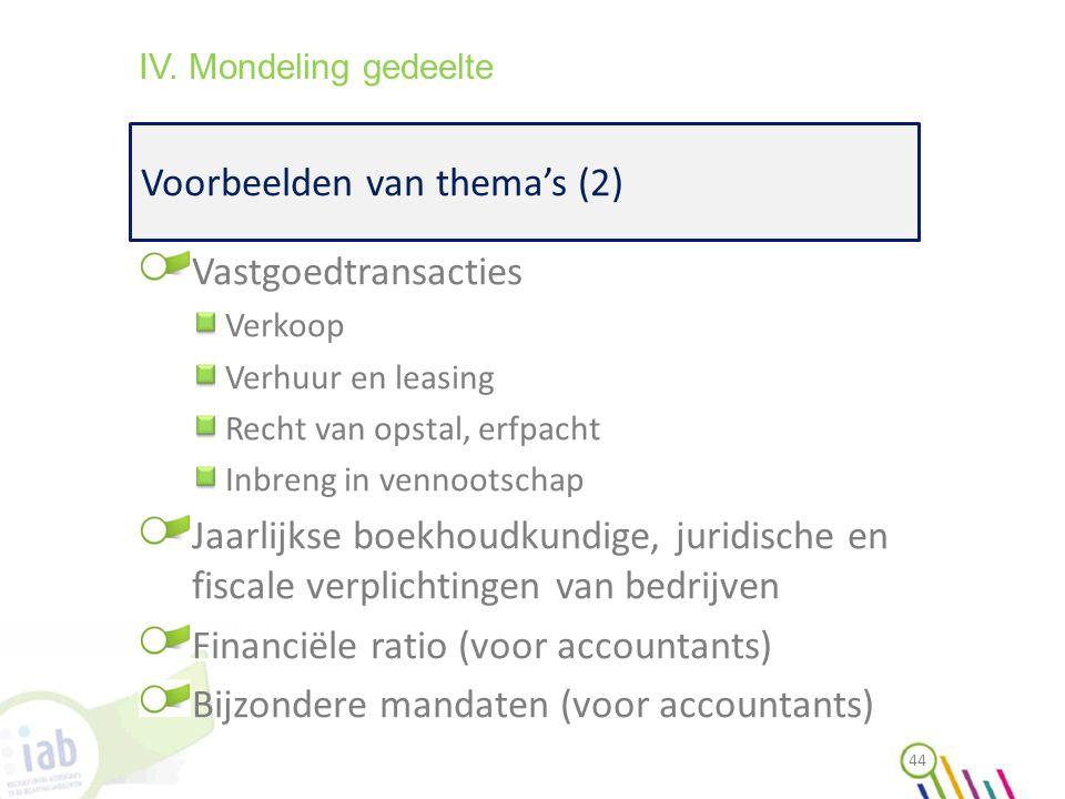 Voorbeelden van thema's (2) 44 IV. Mondeling gedeelte Vastgoedtransacties Verkoop Verhuur en leasing Recht van opstal, erfpacht Inbreng in vennootscha