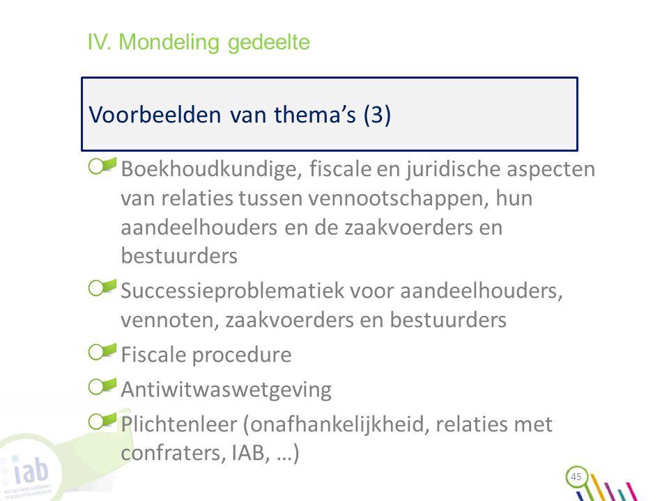 Voorbeelden van thema's (3) 45 IV. Mondeling gedeelte Boekhoudkundige, fiscale en juridische aspecten van relaties tussen vennootschappen, hun aandeel
