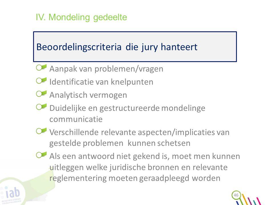 Beoordelingscriteria die jury hanteert 46 IV. Mondeling gedeelte Aanpak van problemen/vragen Identificatie van knelpunten Analytisch vermogen Duidelij