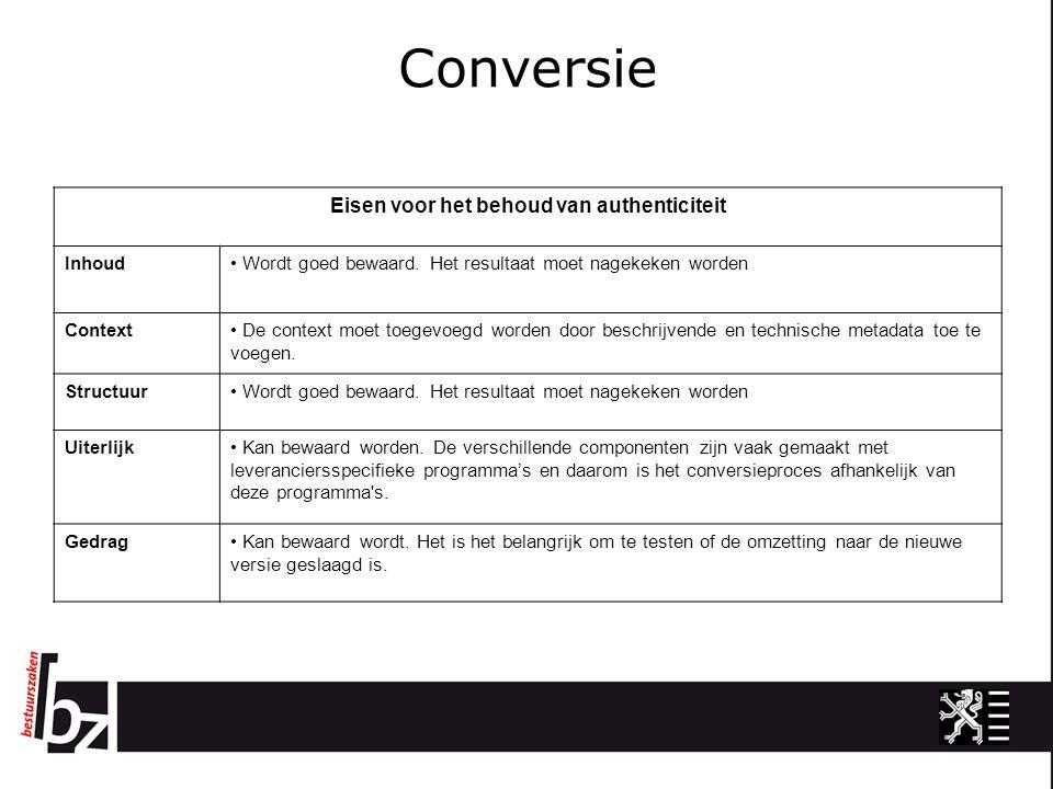 Conversie Eisen voor het behoud van authenticiteit Inhoud Wordt goed bewaard.