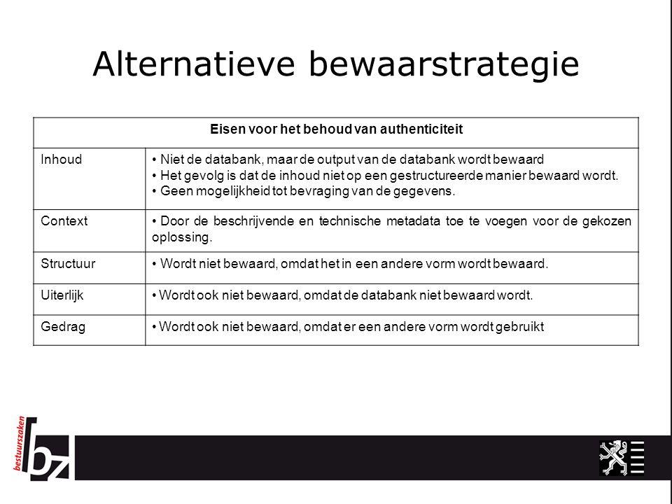 Alternatieve bewaarstrategie Eisen voor het behoud van authenticiteit Inhoud Niet de databank, maar de output van de databank wordt bewaard Het gevolg is dat de inhoud niet op een gestructureerde manier bewaard wordt.
