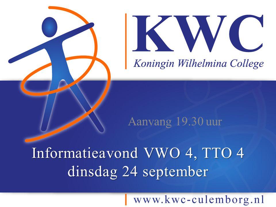 Informatieavond VWO 4, TTO 4 dinsdag 24 september Aanvang 19.30 uur