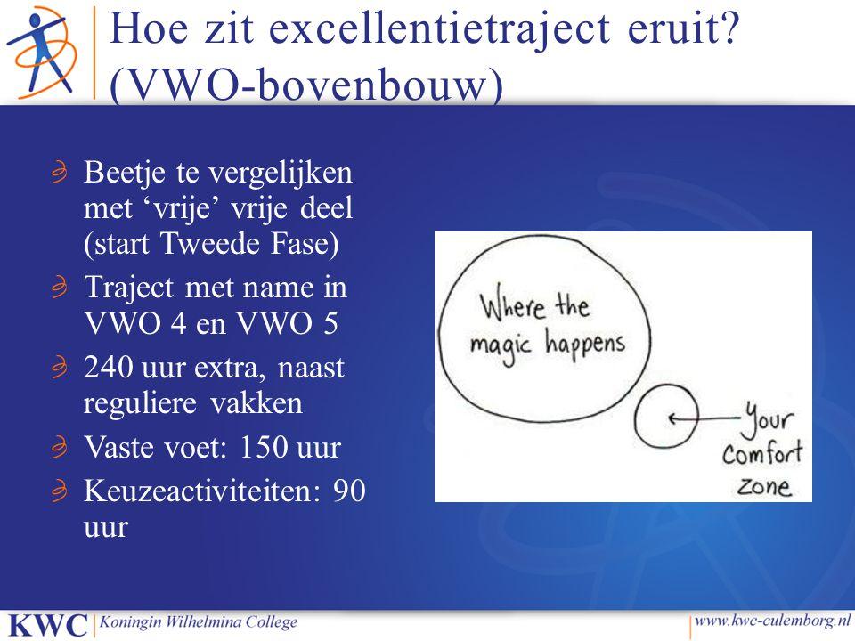 Hoe zit excellentietraject eruit? (VWO-bovenbouw) Beetje te vergelijken met 'vrije' vrije deel (start Tweede Fase) Traject met name in VWO 4 en VWO 5