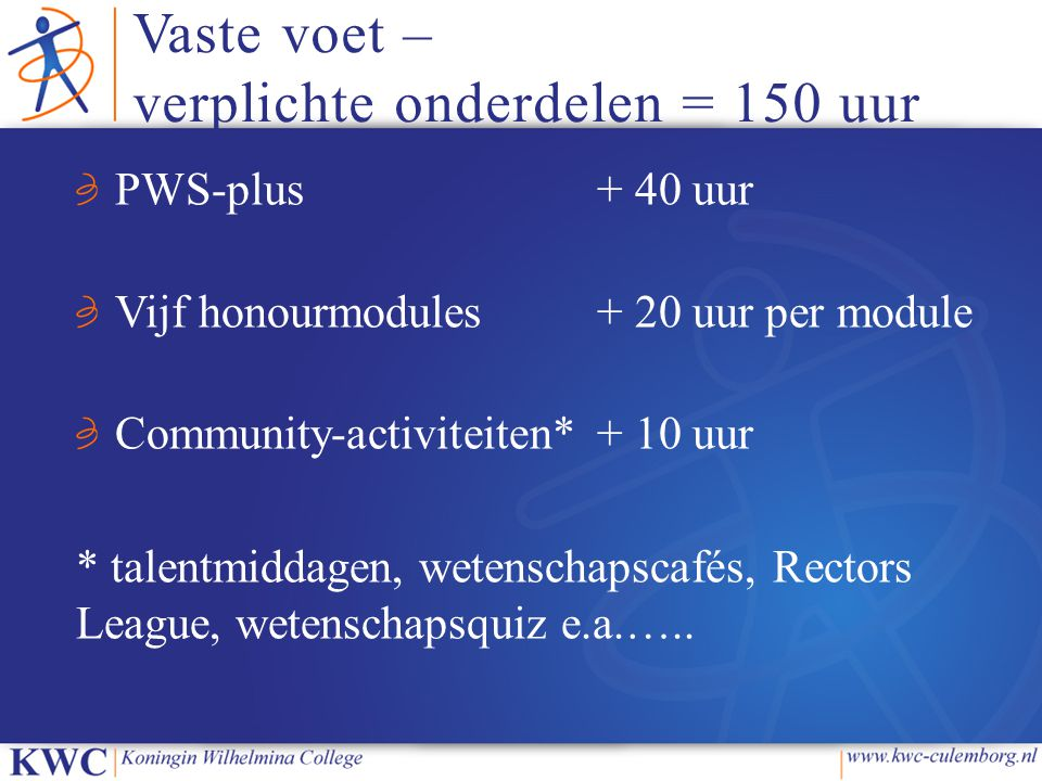 Vaste voet – verplichte onderdelen = 150 uur PWS-plus+ 40 uur Vijf honourmodules+ 20 uur per module Community-activiteiten*+ 10 uur * talentmiddagen,