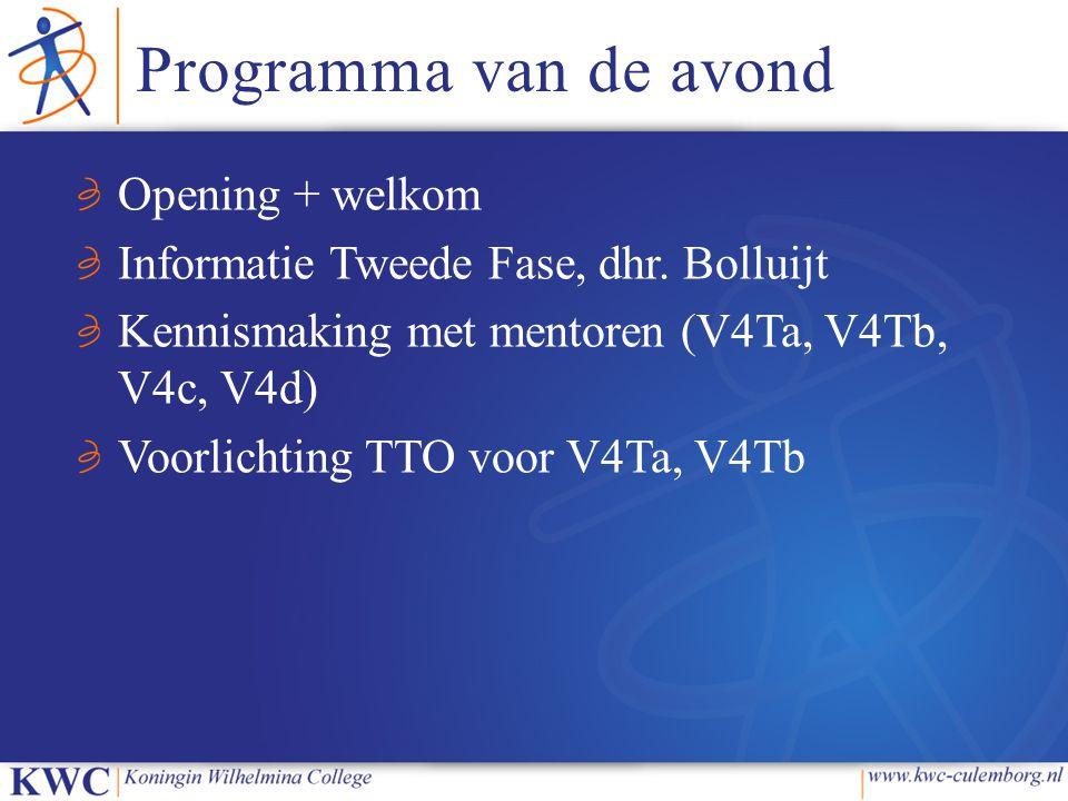 Programma van de avond Opening + welkom Informatie Tweede Fase, dhr. Bolluijt Kennismaking met mentoren (V4Ta, V4Tb, V4c, V4d) Voorlichting TTO voor V