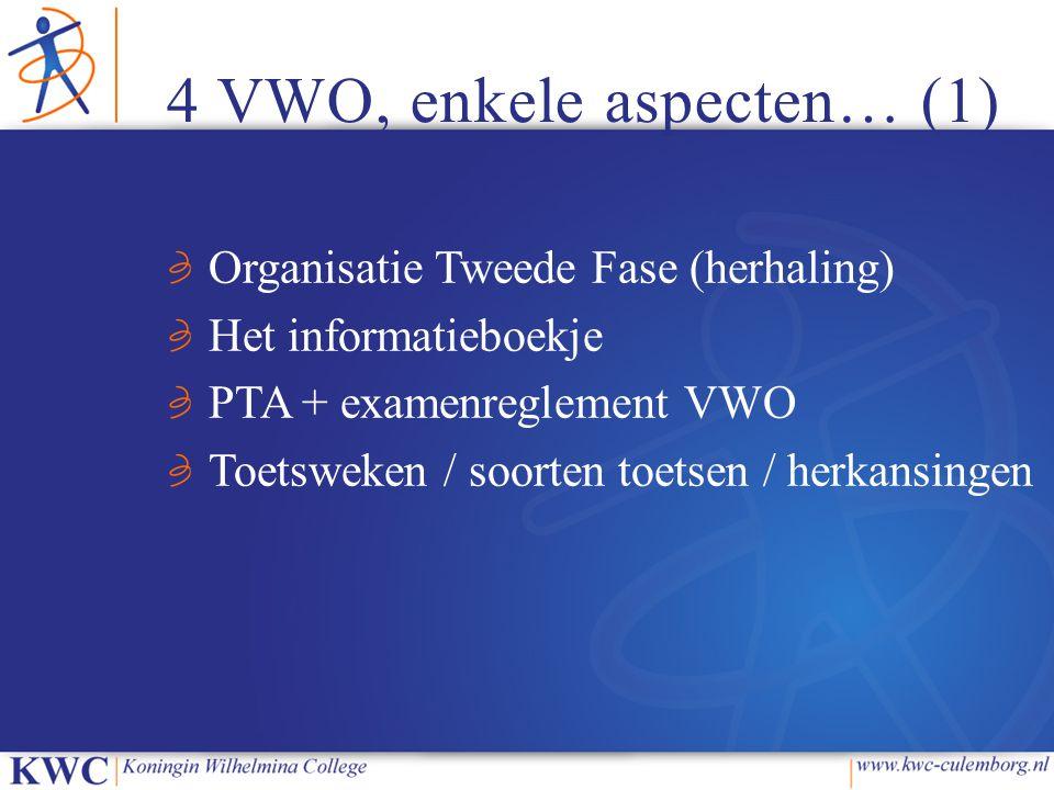 4 VWO, enkele aspecten… (1) Organisatie Tweede Fase (herhaling) Het informatieboekje PTA + examenreglement VWO Toetsweken / soorten toetsen / herkansi