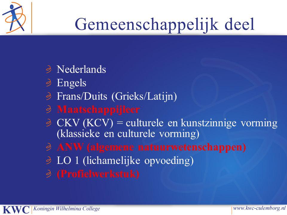 Gemeenschappelijk deel Nederlands Engels Frans/Duits (Grieks/Latijn) Maatschappijleer CKV (KCV) = culturele en kunstzinnige vorming (klassieke en cult