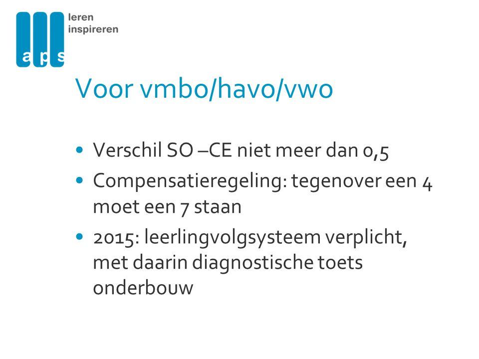 Voor vmbo/havo/vwo Verschil SO –CE niet meer dan 0,5 Compensatieregeling: tegenover een 4 moet een 7 staan 2015: leerlingvolgsysteem verplicht, met da