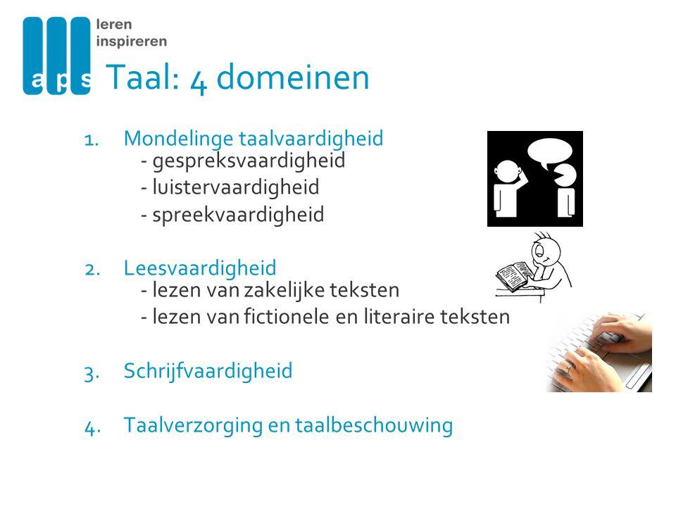 Taal: 4 domeinen 1.Mondelinge taalvaardigheid - gespreksvaardigheid - luistervaardigheid - spreekvaardigheid 2.Leesvaardigheid - lezen van zakelijke t