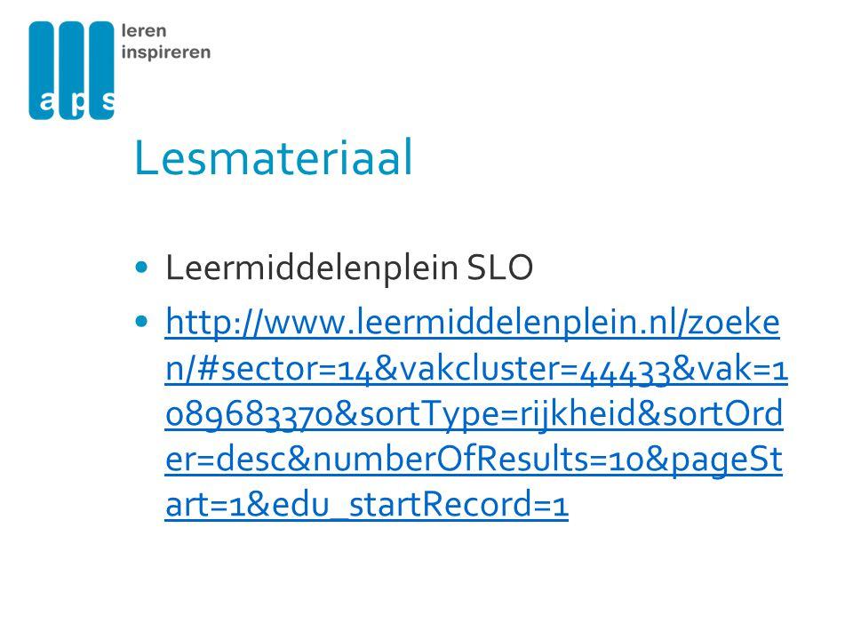 Lesmateriaal Leermiddelenplein SLO http://www.leermiddelenplein.nl/zoeke n/#sector=14&vakcluster=44433&vak=1 089683370&sortType=rijkheid&sortOrd er=de