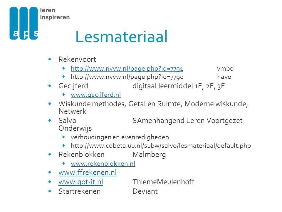 Lesmateriaal Rekenvoort http://www.nvvw.nl/page.php?id=7791vmbohttp://www.nvvw.nl/page.php?id=7791 http://www.nvvw.nl/page.php?id=7790havo Gecijferddi