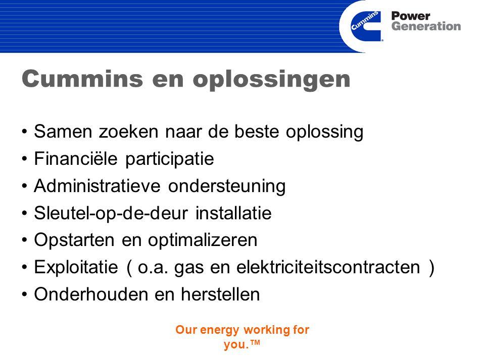 Our energy working for you.™ Cummins en oplossingen Samen zoeken naar de beste oplossing Financiële participatie Administratieve ondersteuning Sleutel