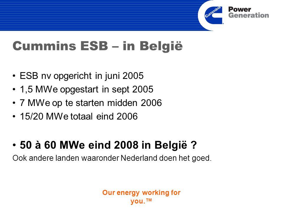 Our energy working for you.™ Cummins ESB – in België ESB nv opgericht in juni 2005 1,5 MWe opgestart in sept 2005 7 MWe op te starten midden 2006 15/20 MWe totaal eind 2006 50 à 60 MWe eind 2008 in België .