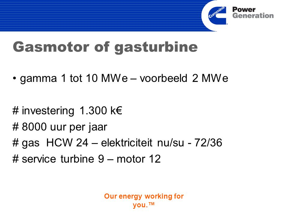 Our energy working for you.™ Gasmotor of gasturbine gamma 1 tot 10 MWe – voorbeeld 2 MWe # investering 1.300 k€ # 8000 uur per jaar # gas HCW 24 – elektriciteit nu/su - 72/36 # service turbine 9 – motor 12