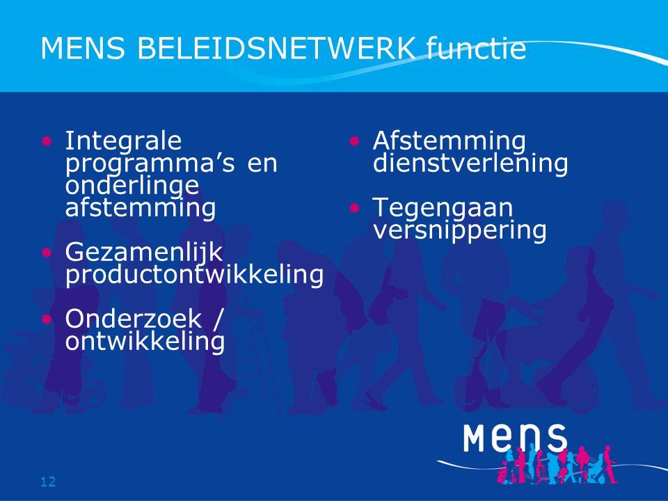 12 MENS BELEIDSNETWERK functie Integrale programma's en onderlinge afstemming Gezamenlijk productontwikkeling Onderzoek / ontwikkeling Afstemming dienstverlening Tegengaan versnippering