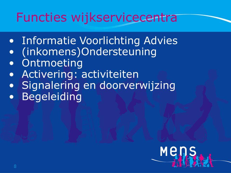 8 Informatie Voorlichting Advies (inkomens)Ondersteuning Ontmoeting Activering: activiteiten Signalering en doorverwijzing Begeleiding Functies wijkservicecentra