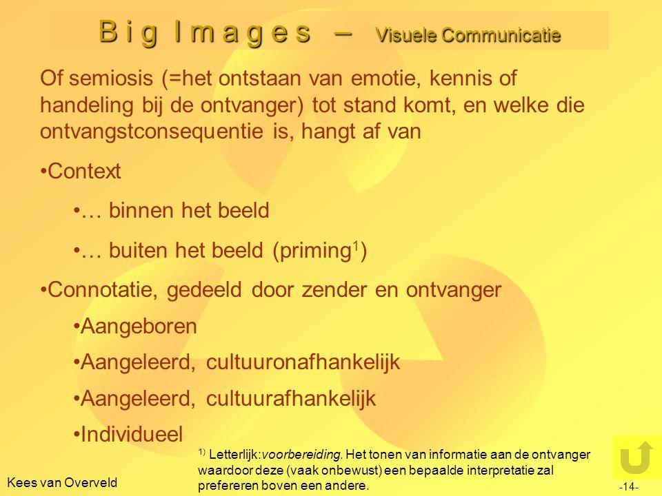 Kees van Overveld B i g I m a g e s – Visuele Communicatie -14- Of semiosis (=het ontstaan van emotie, kennis of handeling bij de ontvanger) tot stand