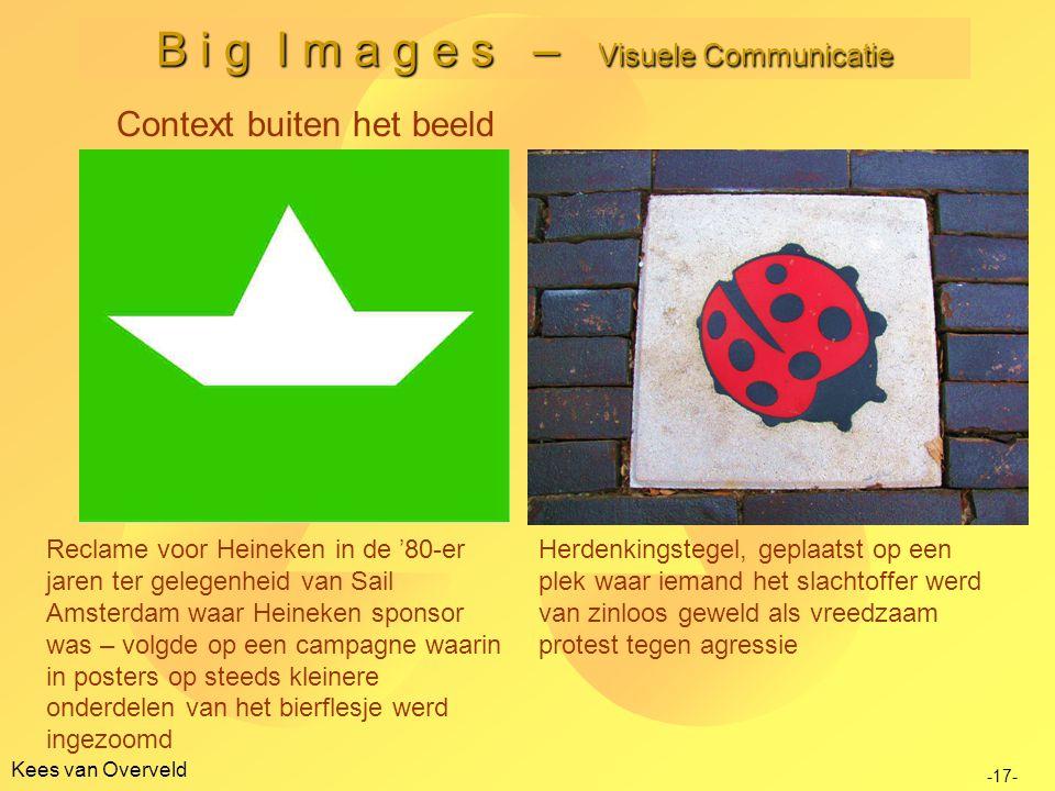 Kees van Overveld B i g I m a g e s – Visuele Communicatie -17- Context buiten het beeld Reclame voor Heineken in de '80-er jaren ter gelegenheid van