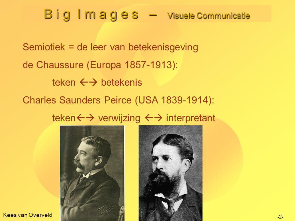Kees van Overveld B i g I m a g e s – Visuele Communicatie -2- Semiotiek = de leer van betekenisgeving de Chaussure (Europa 1857-1913): teken  betek