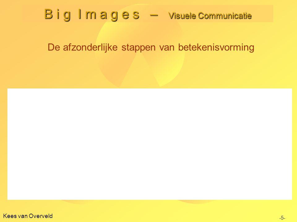 Kees van Overveld B i g I m a g e s – Visuele Communicatie -5- De afzonderlijke stappen van betekenisvorming