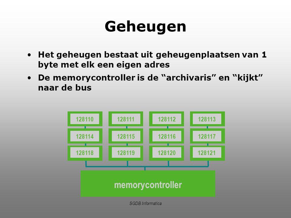 """SGDB Informatica Geheugen Het geheugen bestaat uit geheugenplaatsen van 1 byte met elk een eigen adres De memorycontroller is de """"archivaris"""" en """"kijk"""