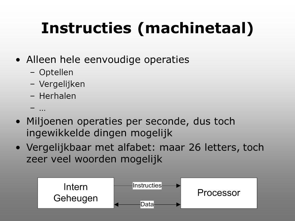Instructies (machinetaal) Alleen hele eenvoudige operaties –Optellen –Vergelijken –Herhalen –… Miljoenen operaties per seconde, dus toch ingewikkelde