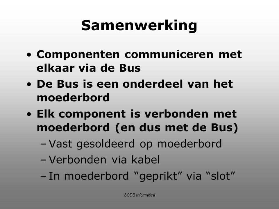 SGDB Informatica Samenwerking Componenten communiceren met elkaar via de Bus De Bus is een onderdeel van het moederbord Elk component is verbonden met