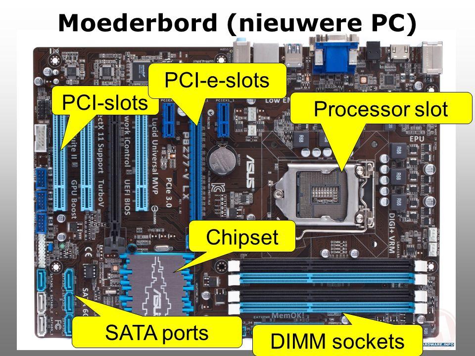 SGDB Informatica Moederbord (nieuwere PC) PCI-slots DIMM sockets Processor slot SATA ports Chipset PCI-e-slots