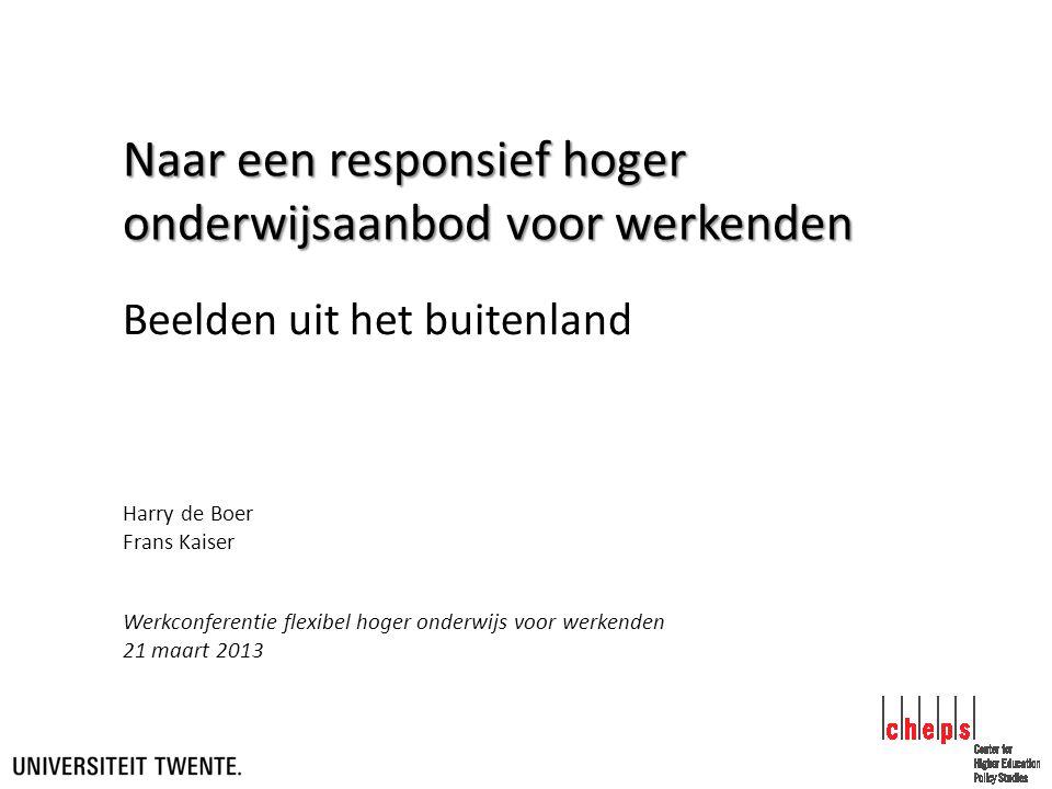Naar een responsief hoger onderwijsaanbod voor werkenden Beelden uit het buitenland Werkconferentie flexibel hoger onderwijs voor werkenden 21 maart 2013 Harry de Boer Frans Kaiser