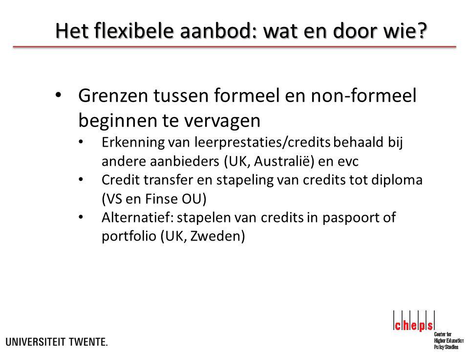 Het flexibele aanbod: wat en door wie.