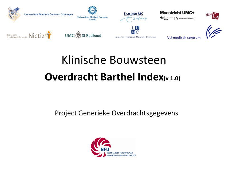 Barthel Index 2 De Barthel-index is een gevalideerd meetinstrument voor het vastleggen en volgen van activiteiten van het dagelijks leven (ADL) van patiënten en indirect de mate van afhankelijk zijn van hulp.