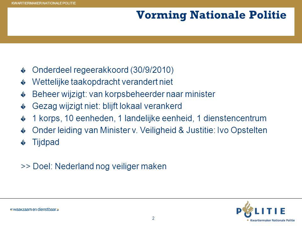 GELDERLAND_ZUID KWARTIERMAKER NATIONALE POLITIE 2 Vorming Nationale Politie Onderdeel regeerakkoord (30/9/2010) Wettelijke taakopdracht verandert niet