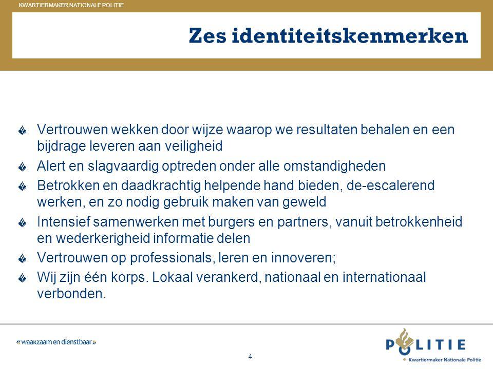 GELDERLAND_ZUID KWARTIERMAKER NATIONALE POLITIE 4 Zes identiteitskenmerken Vertrouwen wekken door wijze waarop we resultaten behalen en een bijdrage l