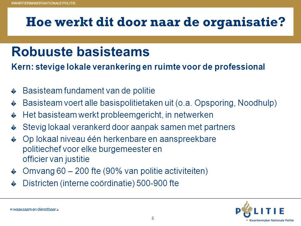 GELDERLAND_ZUID KWARTIERMAKER NATIONALE POLITIE 6 Hoe werkt dit door naar de organisatie? Robuuste basisteams Kern: stevige lokale verankering en ruim