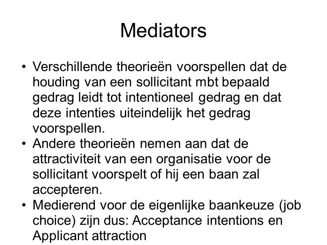 Mediators Verschillende theorieën voorspellen dat de houding van een sollicitant mbt bepaald gedrag leidt tot intentioneel gedrag en dat deze intentie