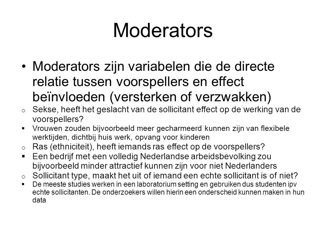 Moderators Moderators zijn variabelen die de directe relatie tussen voorspellers en effect beïnvloeden (versterken of verzwakken) o Sekse, heeft het g