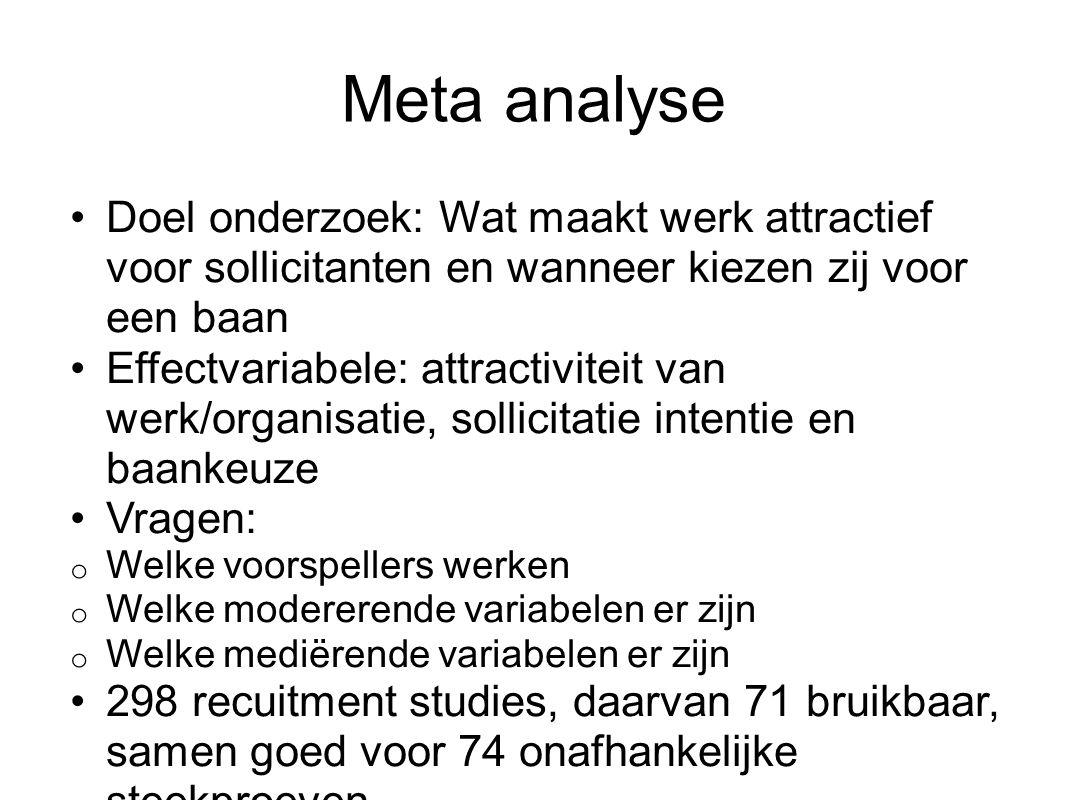 Meta analyse Doel onderzoek: Wat maakt werk attractief voor sollicitanten en wanneer kiezen zij voor een baan Effectvariabele: attractiviteit van werk