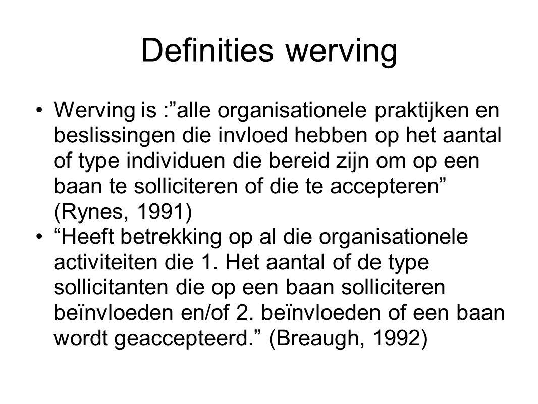"""Definities werving Werving is :""""alle organisationele praktijken en beslissingen die invloed hebben op het aantal of type individuen die bereid zijn om"""