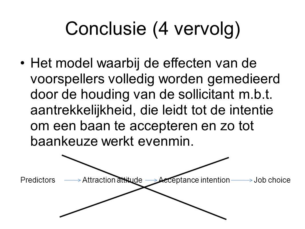 Conclusie (4 vervolg) Het model waarbij de effecten van de voorspellers volledig worden gemedieerd door de houding van de sollicitant m.b.t. aantrekke