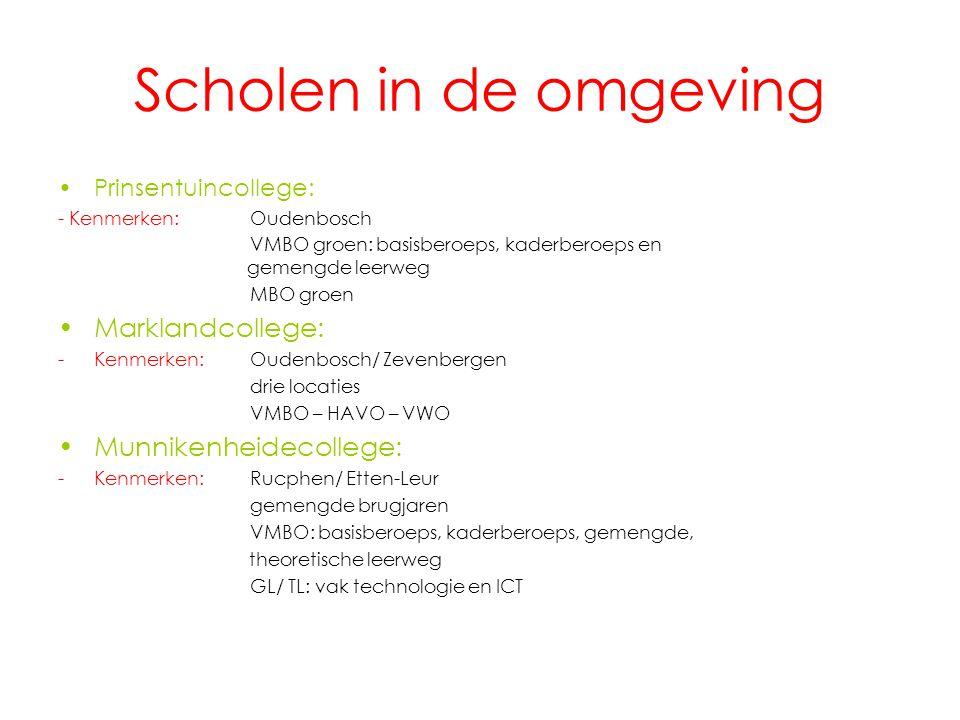 Scholen in de omgeving Prinsentuincollege: - Kenmerken:Oudenbosch VMBO groen: basisberoeps, kaderberoeps en gemengde leerweg MBO groen Marklandcollege