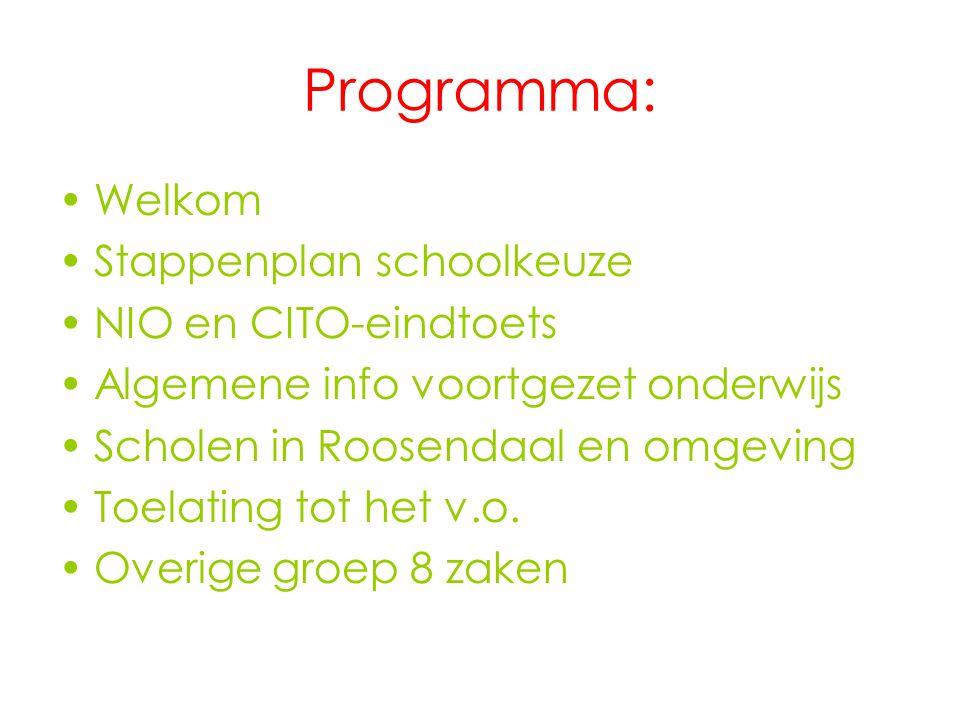 Programma: Welkom Stappenplan schoolkeuze NIO en CITO-eindtoets Algemene info voortgezet onderwijs Scholen in Roosendaal en omgeving Toelating tot het