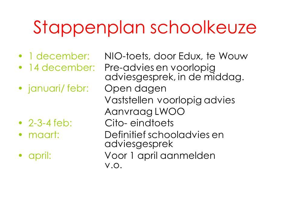 Stappenplan schoolkeuze 1 december: NIO-toets, door Edux, te Wouw 14 december: Pre-advies en voorlopig adviesgesprek, in de middag. januari/ febr: Ope