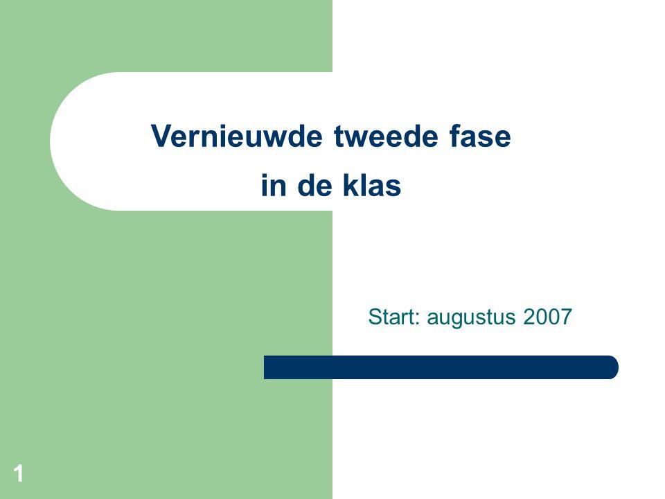 1 Vernieuwde tweede fase in de klas Start: augustus 2007