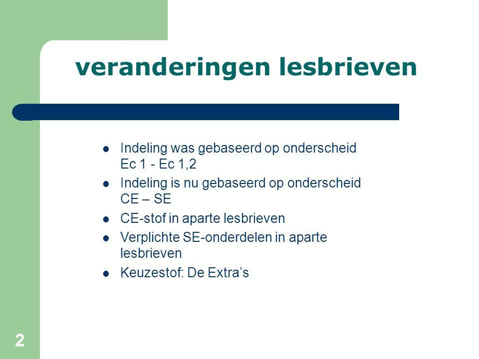 2 veranderingen lesbrieven Indeling was gebaseerd op onderscheid Ec 1 - Ec 1,2 Indeling is nu gebaseerd op onderscheid CE – SE CE-stof in aparte lesbr
