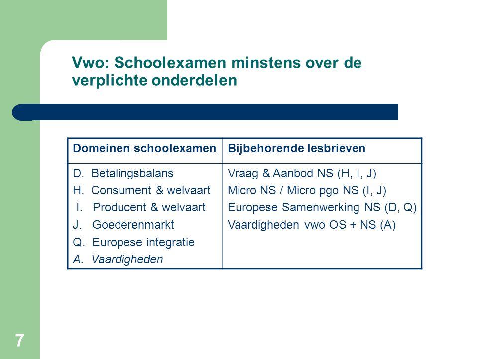 7 Vwo: Schoolexamen minstens over de verplichte onderdelen Domeinen schoolexamenBijbehorende lesbrieven D. Betalingsbalans H. Consument & welvaart I.