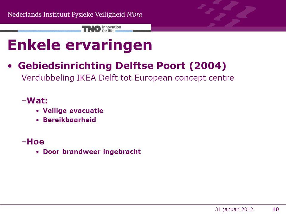 10 Enkele ervaringen Gebiedsinrichting Delftse Poort (2004) Verdubbeling IKEA Delft tot European concept centre –Wat: Veilige evacuatie Bereikbaarheid –Hoe Door brandweer ingebracht 31 januari 2012