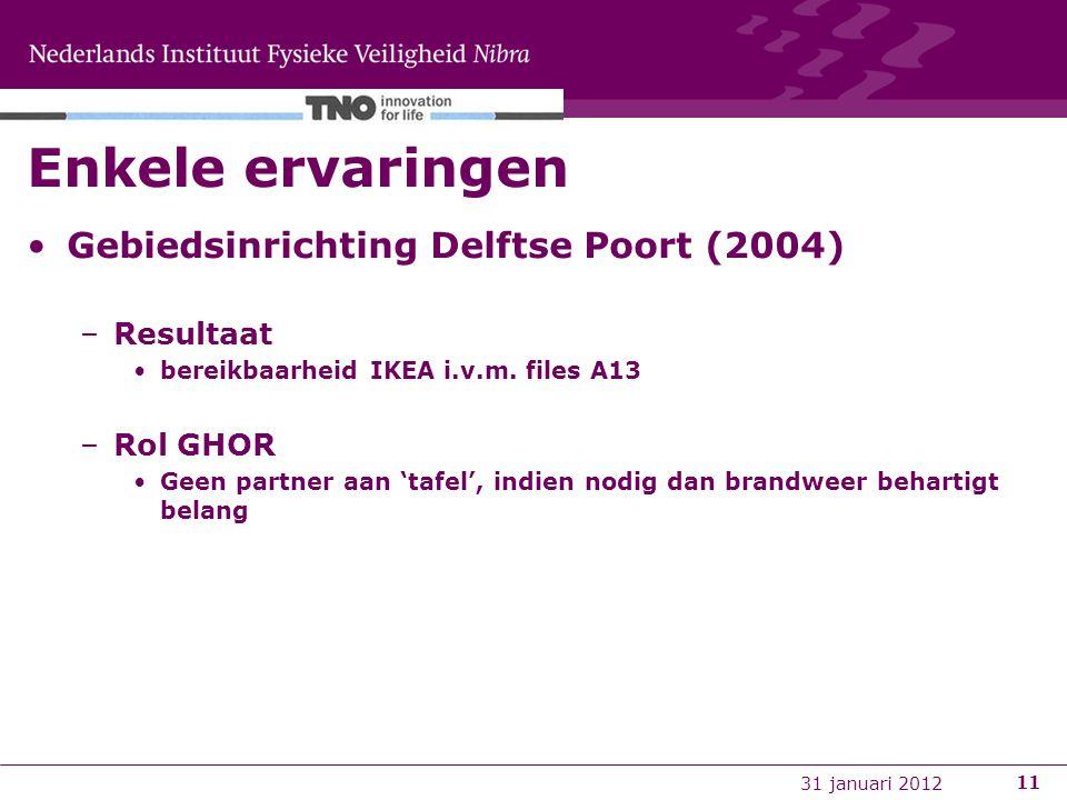 11 Enkele ervaringen Gebiedsinrichting Delftse Poort (2004) –Resultaat bereikbaarheid IKEA i.v.m. files A13 –Rol GHOR Geen partner aan 'tafel', indien