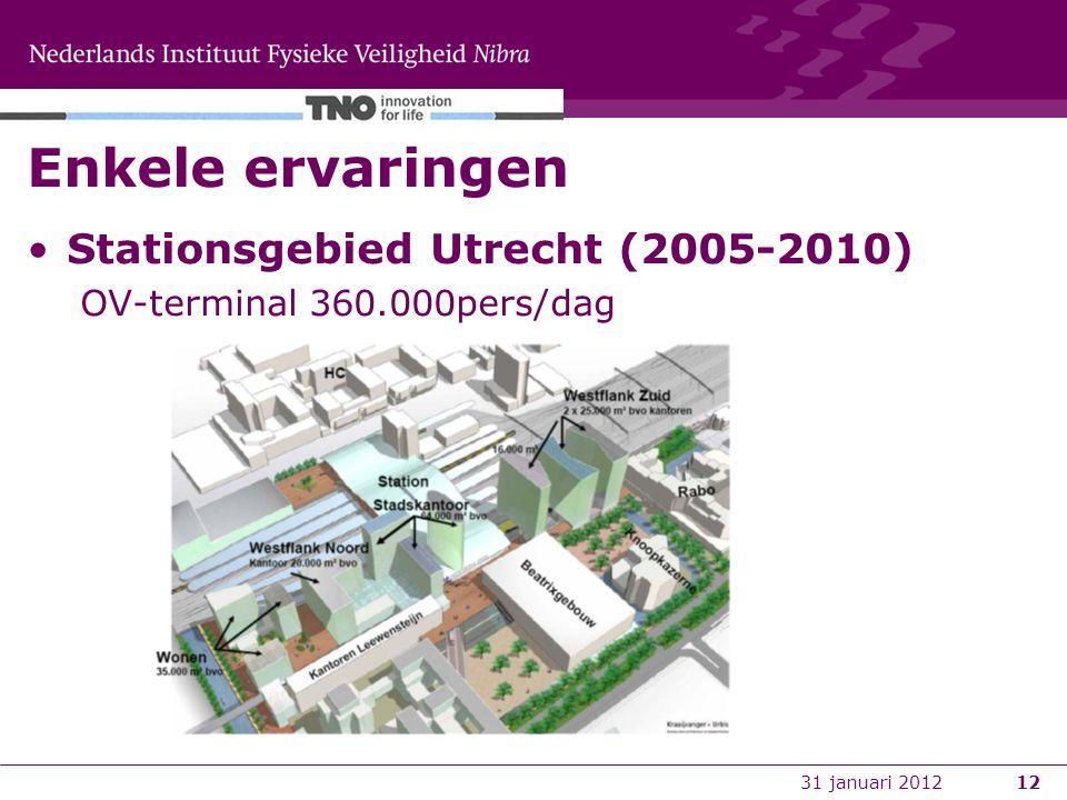 12 Enkele ervaringen Stationsgebied Utrecht (2005-2010) OV-terminal 360.000pers/dag 31 januari 2012